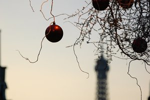 Christmas balls and Eiffel Tower