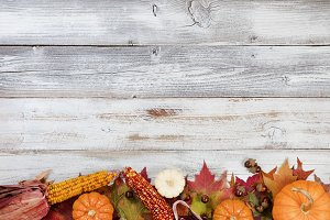 Autumn Thanksgiving Border on wood
