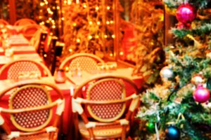 Parisian cafe at Christmas time