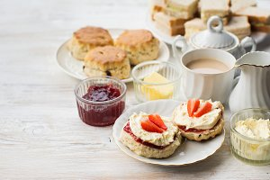 Traditional English cream teas, scones
