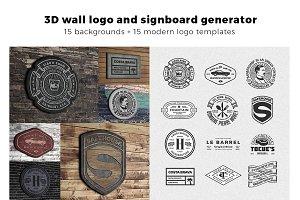 3D signboard logo mock +  templates