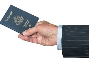 Senior caucasian hand holding US passport