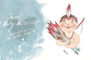 Hand-drawn baby-horoscope