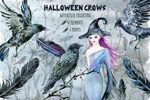 Halloween Crows & Witch