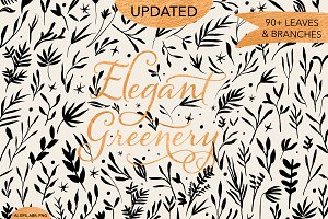Elegant Greenery Hand Drawn Elements
