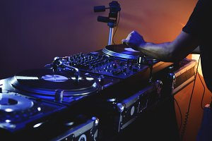 DJ Playing with Vinyl Records