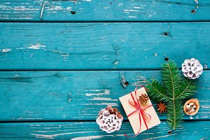 Composition with Christmas gift