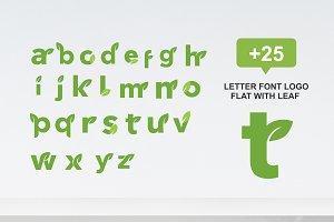 25 letter font logo flat with leaf