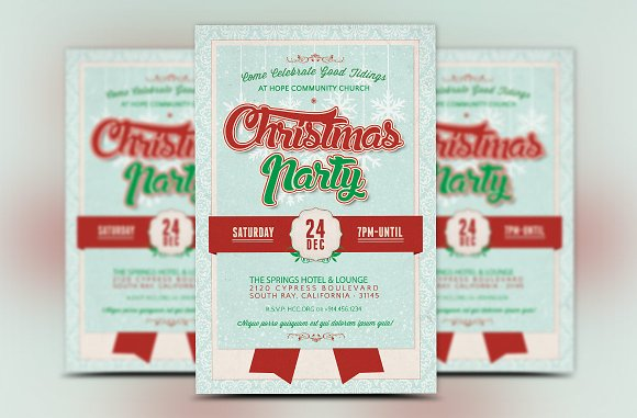 church christmas party flyer flyer templates creative market