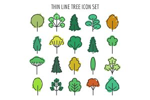 Colored hand drawn tree icons