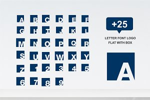 25 letter font logo flat with box