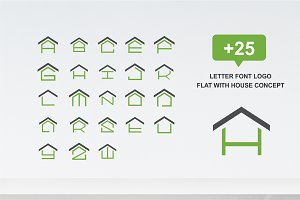 25 letter font logo flat with house