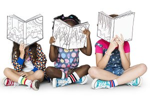 Children Reading Book (PNG)