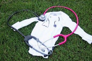 Baby onesie with stethoscope