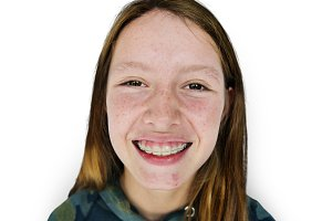 Young adult woman face smile (PNG)