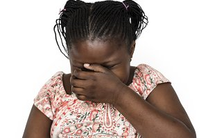 young girl covering face (PNG)