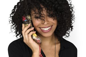 woman talking on phone (PNG)