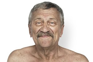 shirtless senior man (PNG)