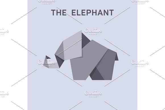 Origami Elephant Flat Style Design Illustration Animals Logo