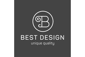 Monogram letter B in the minimalism background, high quality style logo