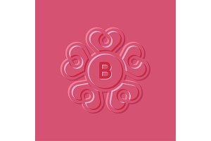 Hearts illustration pink surround style, the letter B