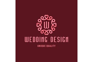 Letter W, Wedding Design, sign in the form of an Ornament with Hearts