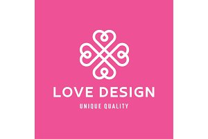 Love Design Hearts in the form of a monogram style flat