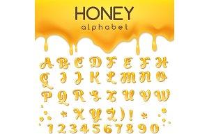 Liquid honey alphabet