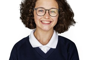 Young adult schoolgirl smiling (PNG)