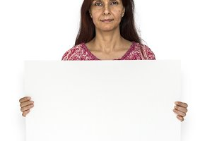 woman holding a placard (PNG)