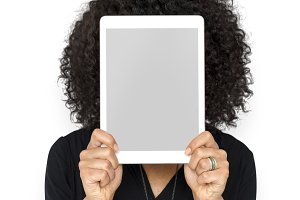 woman holding digital device (PNG)