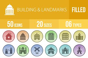 50 Buildings&Landmark Low Poly Icons