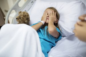 A girl staying at a hospital