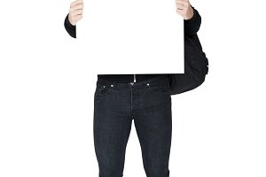 Man holding banner (PNG)