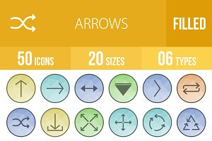 50 Arrows Low Poly B/G Icons