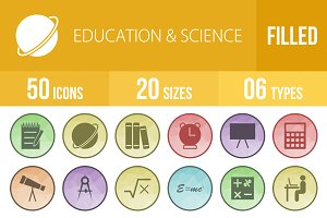 50 Education&Science Low Poly Icons