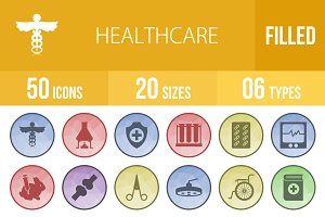 50 Healthcare Low Poly B/G Icons