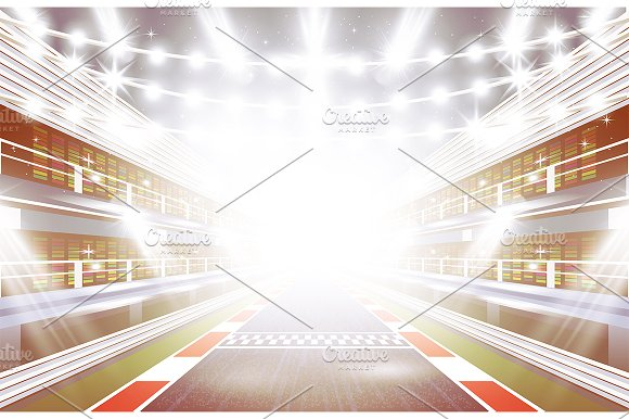 Race Track Arena With Spotlights