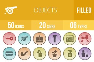 50 Objects Low Poly B/G Icons
