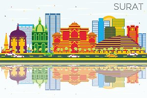 Surat Skyline with Color Buildings
