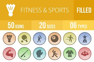 50 Fitness&Sports Low Poly B/G Icons