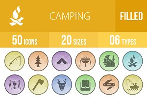 50 Camping Low Poly B/G Icons