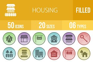 50 Housing Low Poly B/G Icons