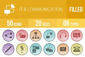 50 IT&Communication Low Poly Icons