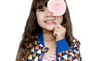Little girl with lollipop (PNG)
