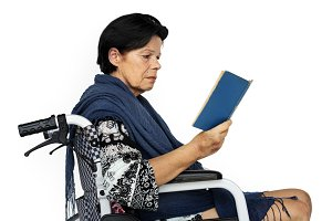 Woman sitting on wheelchair (PNG)