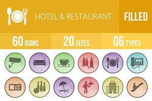60 Hotel & Restaurant Low Poly Icons