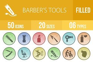 50 Barber's Tools Low Poly B/G Icons