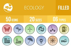 50 Ecology Low Poly B/G Icons