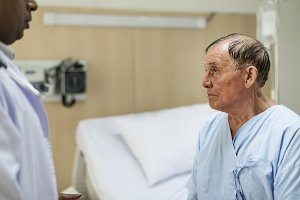 elderly is staying at the hospital
